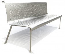Metal bench with stainless steel effect