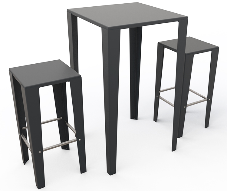 Guyon mobilier urbain table mange debout metal brunch 4 pieds ral 2900