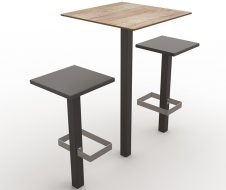 guyon mobilier urbain table mange debout stratifie compact BRUNCH scellement sol