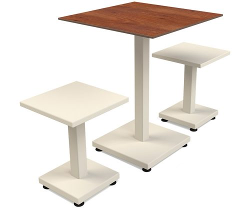 guyon mobilier urbain table pied central RAL 9001 et stratifie fixation autostable