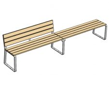 guyon mobilier urbain banc 2 places + banquette 2 places bois accoya feel sans accoudoirs